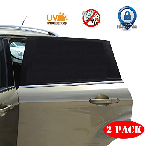 Universal Car Window Sun Shade - 2 Pack Breathable Mesh Car Rear Side Window Shade Sunshade UV Protection for Baby Family Pet, Car Mosquito Net Curtains Fit for Most(95%) of Cars, Cover Full Windows
