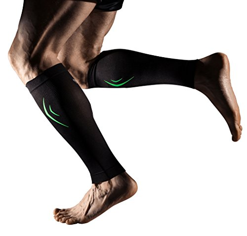 (MD Compression Calf Sleeve Leg Compression Socks for Shin Splint, & Calf Pain Relief - Men, Women, and Runners - Calf Guard for Running, Cycling, Maternity, Travel, Nurses)