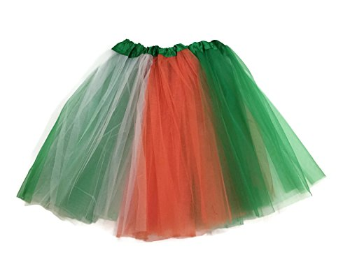 [Rush Dance Multi Color Women's PLUS SIZE Costume Ballet Warrior Dash Run Tutu (Adult, Kelly Green/Orange/White (St Patrick's Day))] (St Patrick Day Costumes Plus Size)