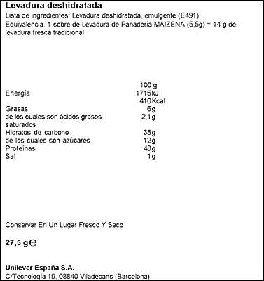 Maizena - Levadura Panadería, 4 unidades: Amazon.es: Alimentación ...