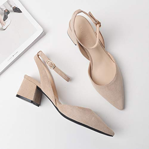 After Yukun Wild Thick heels High High Shoes Female With Small Fresh Sky The Heels Pointed Nude Suede YwwEOn