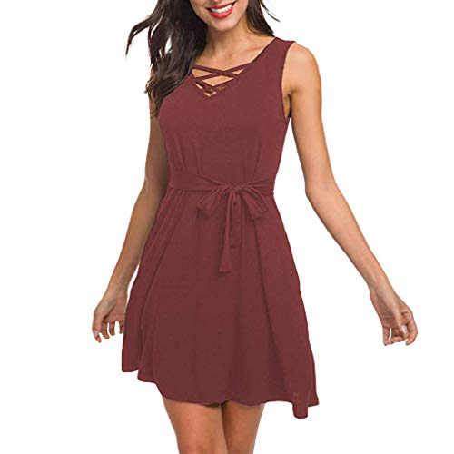 Aunimeifly Ladies V-Neck Front Criss-Cross with Solid Color Dresses Sleeveless Loose Lace-up Pocket Dress Red