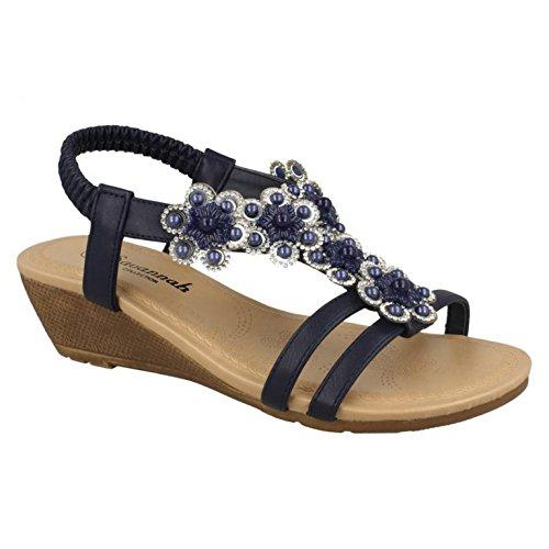 Savannah Womens/Ladies Mid Wedge Slingback Flower Trim Vamp Sandals Silver Synthetic lLihLhW