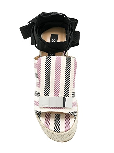 Rossi Coton A80210MFN2725058 Noir Rose Compensées Chaussures Femme Sergio Fxza6wdqRF