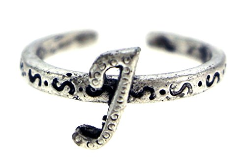 Tone Ring Silver Silver Toe (Antique Silver-Tone Toe Ring With The Letter 'J' Initial TR42A-J)