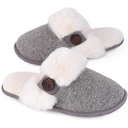 HomeTop Women's Cute Comfy Fuzzy Knitted Memory Foam Slip On House Slippers Indoor (35-36 (US Women's 5-6), Gray)