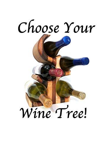 Wood Wine Rack Tree – Unique 5 Bottle Standing Wine Rack – Handmade Bottle Display in your Choice of Woods (Rack Standing Tree Wine)