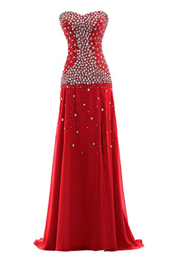 Damen Lang Festkleid Ausschnitt Rot Scheind Chiffon Ivydressing Herz Promkleid Abendkleid 1vwHxR