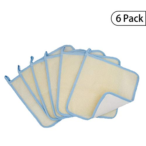 Bleu Bath (6 Pack) Dual-Sided Exfoliating Skin Towel Natural Cotton Body Cloth Scrubber Premium Sturdy Loofah Towel Soft and Buffing Wash Cloth White for Either Oil or Dry Skin