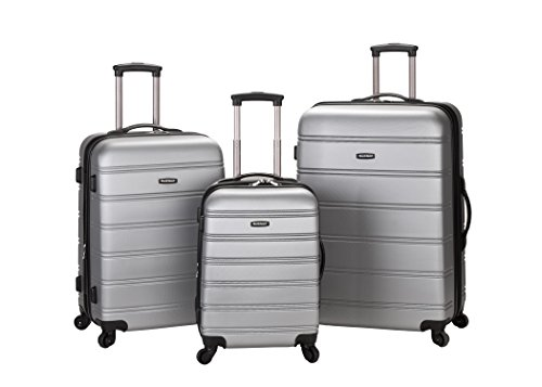 Rockland Luggage Melbourne 3 Piece Abs Luggage Set, Silver, Medium