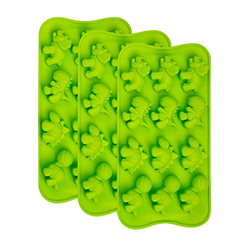 Webake Dinosaur Chocolate Molds, Silicone Candy Molds 3 Pack for Hard Candy, Fondant, Gummy, Jello, Ice Cube, Resin -