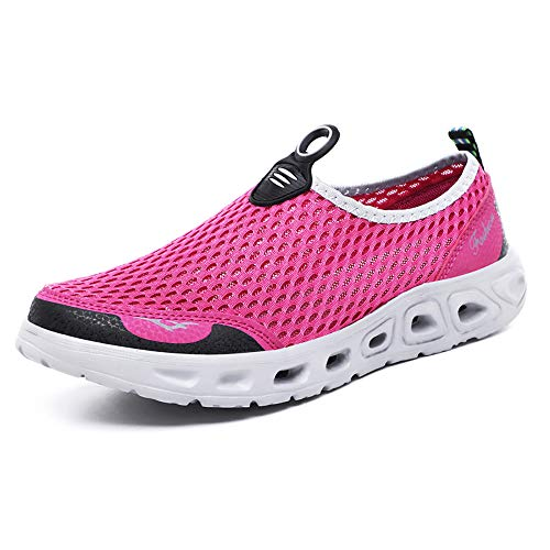 GOOD STUDIOS Men Women Mesh Water Shoes Quick Dry Slip-on Aqua Shoes for Swimming Pool Beach Walking Running Exercise, Pink/White, 7 Women / 5.5 Men