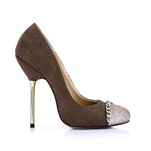 tacones punta Color Stich Stiletto metal zapatos Best estrecha de altos 4U® mujer CM elástico terciopelo cadena primavera de de otoño Zapatos 12 RROBxwq1Z
