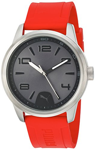 PUMA Quartz Stainless Steel and Polyurethane Watch, Black Dial (Model: PU104041004)