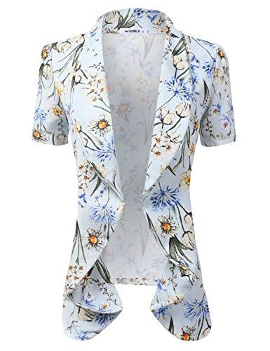Doublju Womens Lightweight Thin Short Sleeve Open Front Blazer with Plus Size SKYBLUEFLOWER L