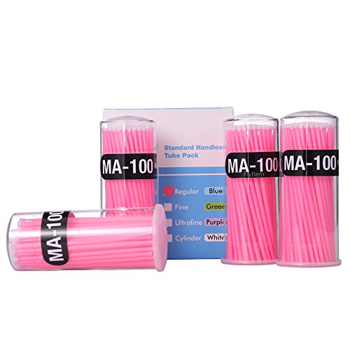 FlyItem 400 Pcs Pink Professional Regular Disposable Micro Mascara Applicator Brush Bendable Individual Eyelash Extension Mini Fiber Swabs Eye Lash Makeup Cosmetic Tool (Pink)