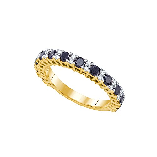 Size 8 - 10K Yellow Gold Large White and Black Diamond Wedding Band Ring - w/ Channel Set Round Diamonds - (1.09 (Round Channel Set Diamond Band)