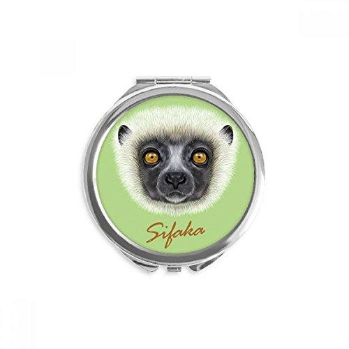 White Fluffy Sifaka Monkey Animal Mirror Round Portable Hand Pocket Makeup