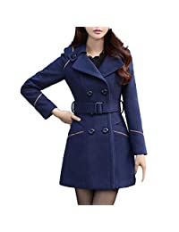 Colmkley Womens Double Breasted Belt Winter Warm Jacket Trench Pea Coat Overcoat