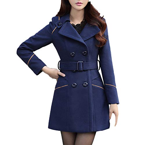 Peacur Womens Fashion Wool Double Breasted Elegant Work Office Jacket Ladies Winter Warm Solid Long Sleeve Cardigan Outerwear Overcoat (Navy, L)