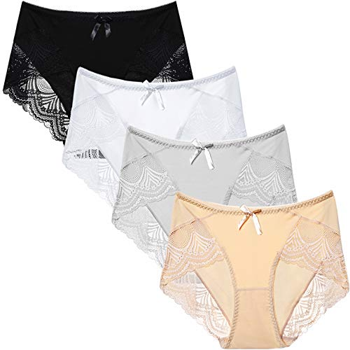 LEVAO Womens Cotton Underwear Panties Lace Hi Cut Panty Briefs 3 Pack, Supersoft