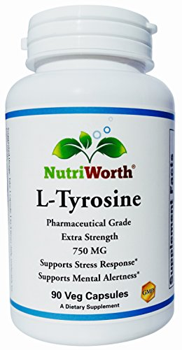 Cheap NutriWorth L-Tyrosine 750mg Pharmaceutical Grade, NON-GMO, Extra Strength, 90 Vegetable Capsules – Supports Stress Response, Mental Alertness, Focus and Healthy Glandular Function*