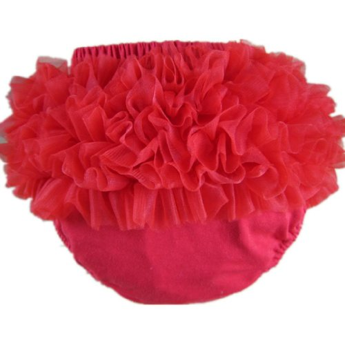 - Buenos Ninos Baby Girl's Cotton Shorts and Briefs Chiffon Ruffle Bloomers,Red,S