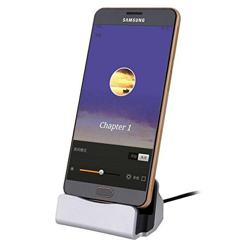 Liamoo micro-USB Daten- u. Ladestation für Samsung, HTC, Sony, LG usw. Docking-Station in Silber