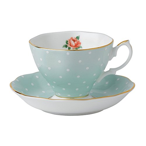 135 Polka Rose Formal Vintage Teacup and Saucer Boxed Set ()