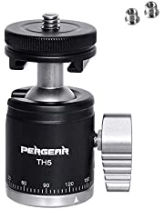 Pergear TH5 DSLR Camera Tripod Both Ball Head & Cold Shoe, 5KG/11lbs Loading Capacity, Double Knob Control, Metal Build Quality, Design for DSLR Camera/Light Stand/Gopro/Video Camcorder