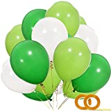 Dinosaur Party Balloons, 100pcs 12 Inch White Fruit Light Green Dark Green Latex Balloons with Ribbon for Dinosaur Party Supplies, Baby Shower, Dino Jungle Jurassic Birthday Party Decorations