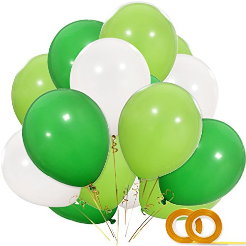 Dinosaur Party Balloons, 100pcs 12 Inch White Fruit Light Green Dark Green Latex Balloons with Ribbon for Dinosaur Party Supplies, Baby Shower, Dino Jungle Jurassic Birthday Party Decorations]()