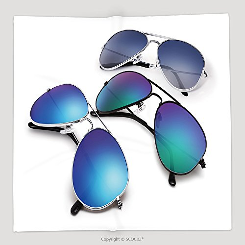 Custom Aviator Sunglasses Isolated On White Background With Blue Mirrored Lenses 278899973 Soft Fleece Throw - Ac Sunglasses Dc