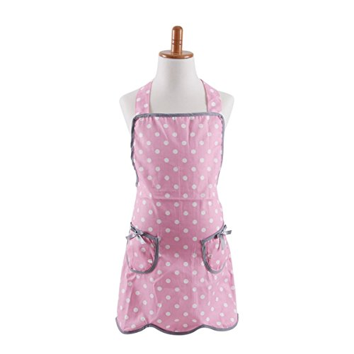 FirstKitchen Thin Cotton Kids Girl Apron, Cooking Apron for Kid Girls, Pink Polka Dots Baking Apron for Children with 2 ()