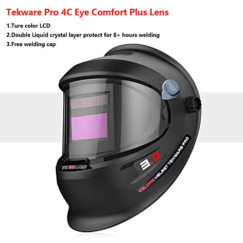 Tekware Welding Helmet 4C Lens Technology Solar Power Auto Darkening Hood True Color LCD Welder Mask Breathable Grinding Helmets with Adjustable Shade Range by TEKWARE (Image #2)