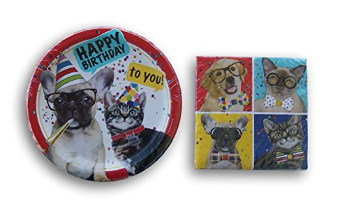 Cats and Dogs Themed Party Supply Kit - Large Plates and Large Napkins