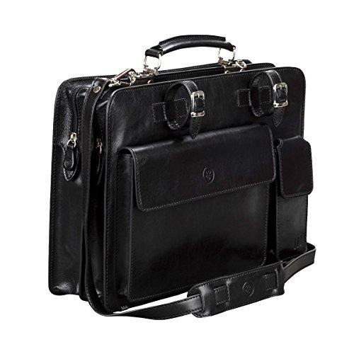 Black Alanzo Black Top Scott for Men PERSONALISED Night Zip Briefcase Luxury Maxwell Leather RwtBqxx