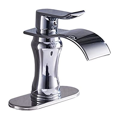 BWE Waterfall Bathroom Sink Faucet Brushed Nickel Glass Spout