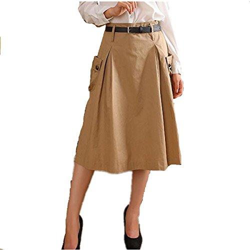 Taiduosheng Women's Double Pocket A line Street Skirt Skater Pleated (Khaki A-line Skirt)