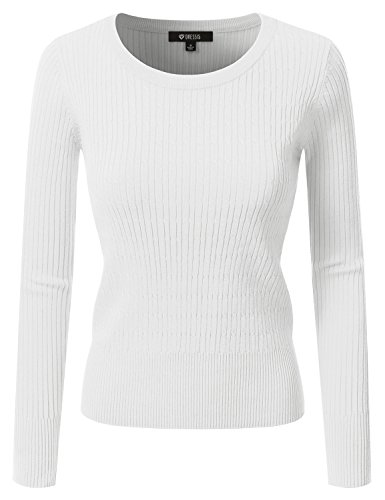 Crew Ribbed Sweater (DRESSIS Women's Long Sleeve Crew Neck Cable Knit Sweater WHITE M)