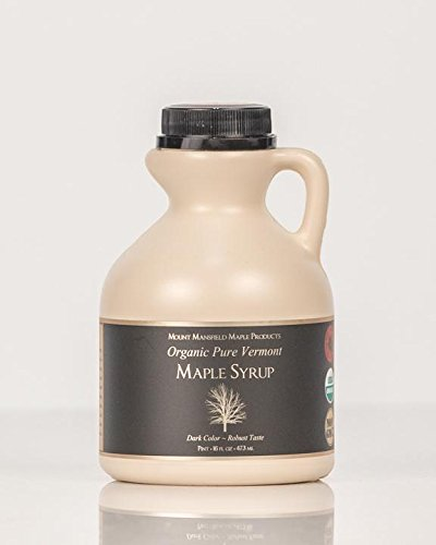 Pint Maple Syrup Jug - Mansfield Maple Certified Organic Pure Vermont Maple Syrup in Plastic Jug Golden Delicate (Vermont Fancy), Pint