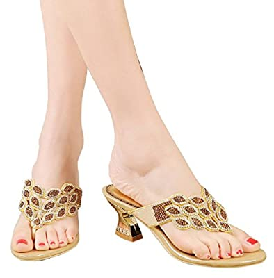 YooPrettyz Summer Rhinestone Thong Strap Sandals Sweet Sandal Gold Chunky Low Heel