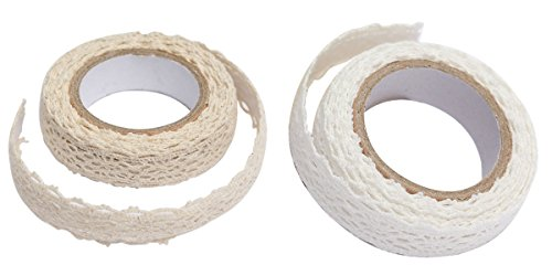 - C-Pioneer Craft Adhesive Deco Fabric Tape Rolls Multi-function Adornment Lace Tape (Beige+White)