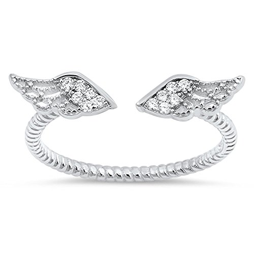 (Angel Wings White CZ Cute Ring New .925 Sterling Silver Bali Band Size)