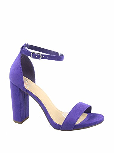 Delicious Shiner-s Women's Fashion Open Toe Ankle Strap Chunky Heels Sandals Shoes (8.5 B(M) US, Violet sv) ()