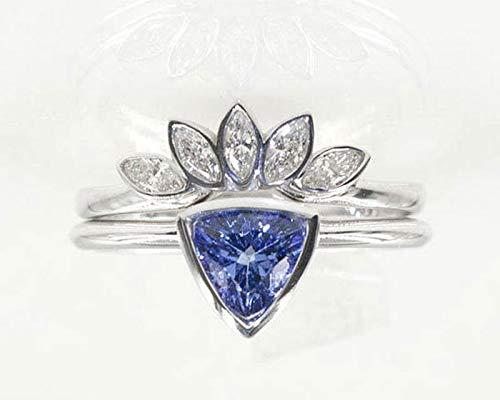 (Trillion Tanzanite Diamond Wedding 2pcs Set, Tanzanite Engagement Ring, 5 Marquise Crown Diamond Band, 14K Solid Gold & Natural Diamonds)