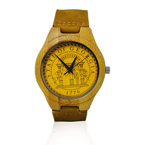 Handmade Wooden Watch Made with Natural Bamboo with State of Georgia - State Seal Georgia