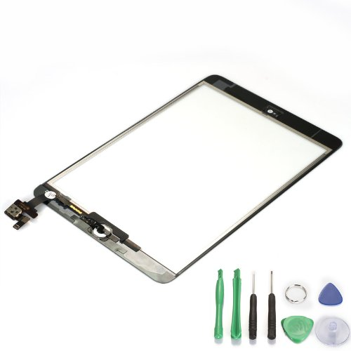 White Ipad Mini Touch Digitizer Screen + IC Connector Home Button Flex Assembly