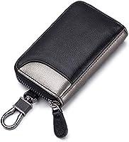 キーケース メンズ 本革 カードキーケース スマートキーケース 車キーケース 6連 2つ外側ポケット カード入れ カラビナ付き 大容量 プレゼント