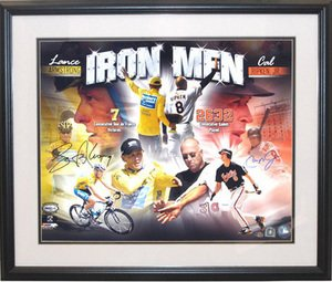 (Autograph Warehouse 60014 Lance Armstrong and Cal Ripken Autographed 16X20 Photo Iron Men Framed)